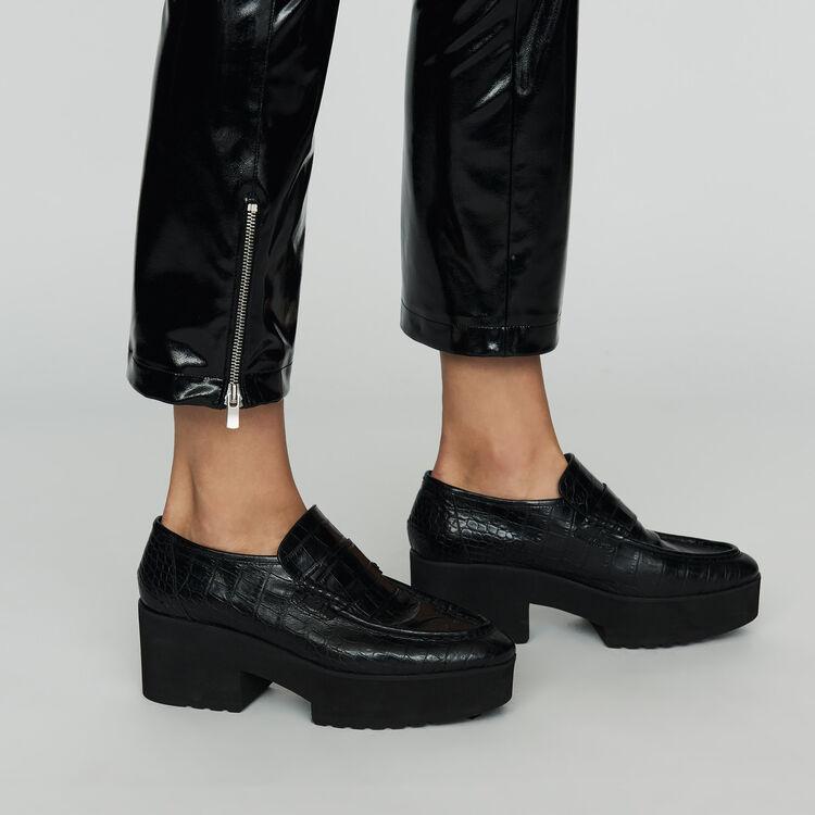 Pantalon cigarette en simili cuir : Pantalons couleur Black