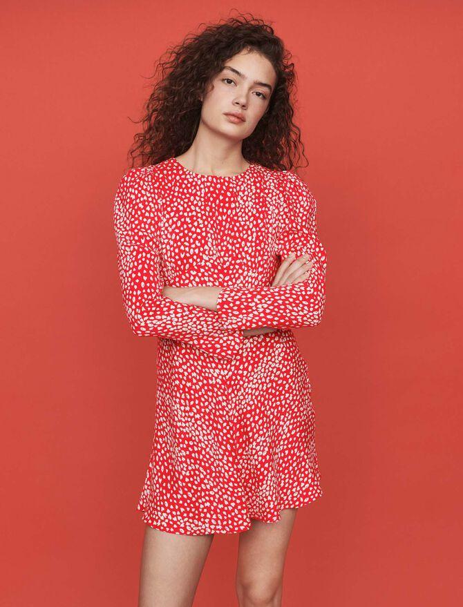 Robe froncée en jacquard imprimé - Robes - MAJE