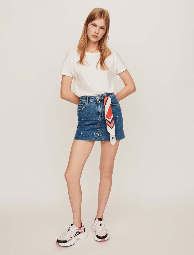 Jupe droite en jean avec délavages - Jupes & Shorts - MAJE