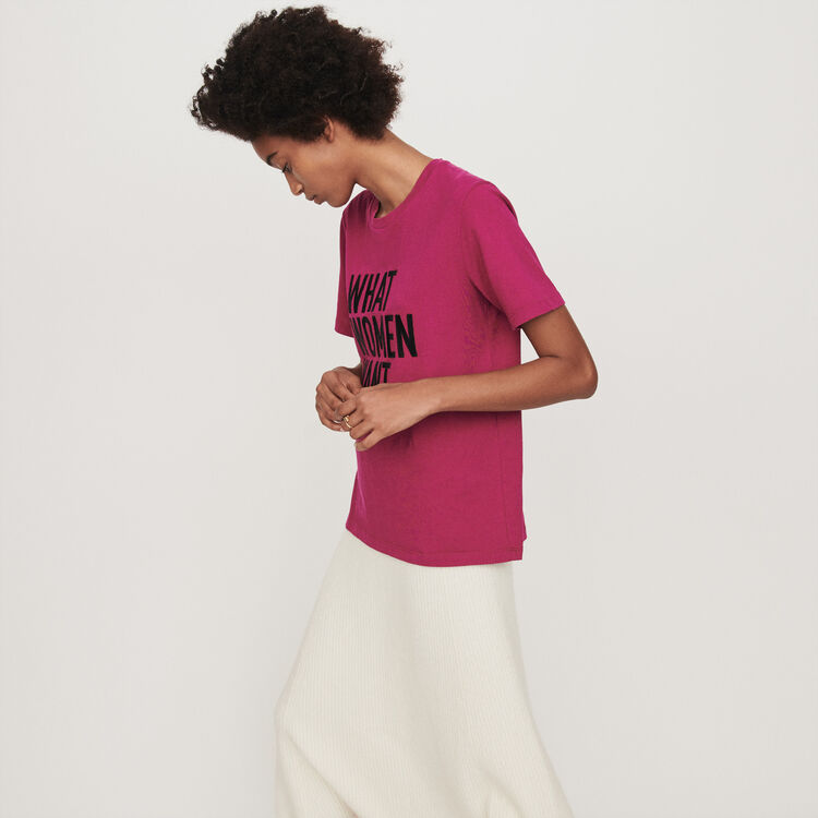 Tee-shirt brodé : T-Shirts couleur FUSCHIA