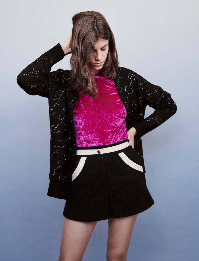 Short façon tweed à bandes contrastées - SoldesBE_Jupes_shorts - MAJE