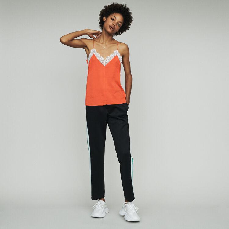 Caraco avec dentelle : Tops couleur Orange