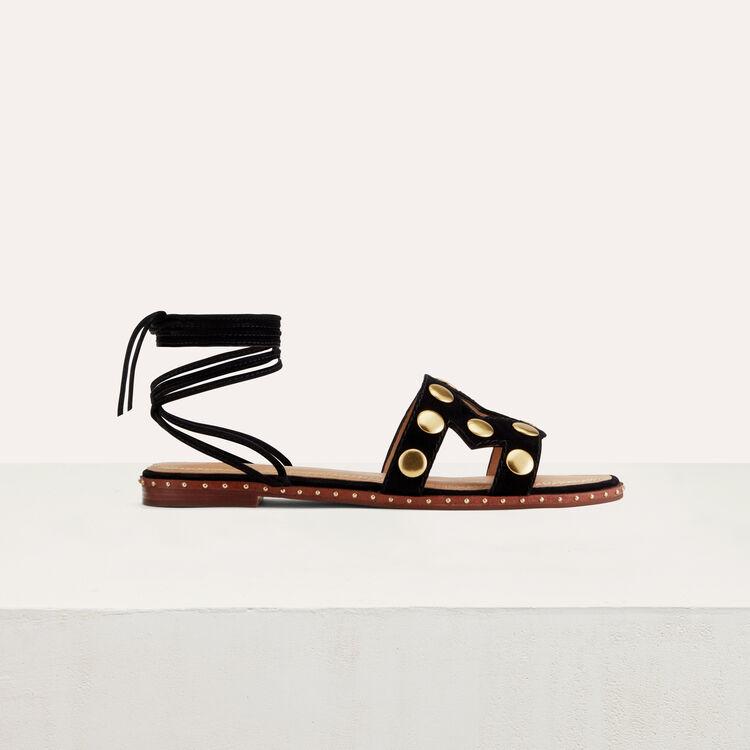 Sandales plates en cuir de velours : Chaussures couleur Black
