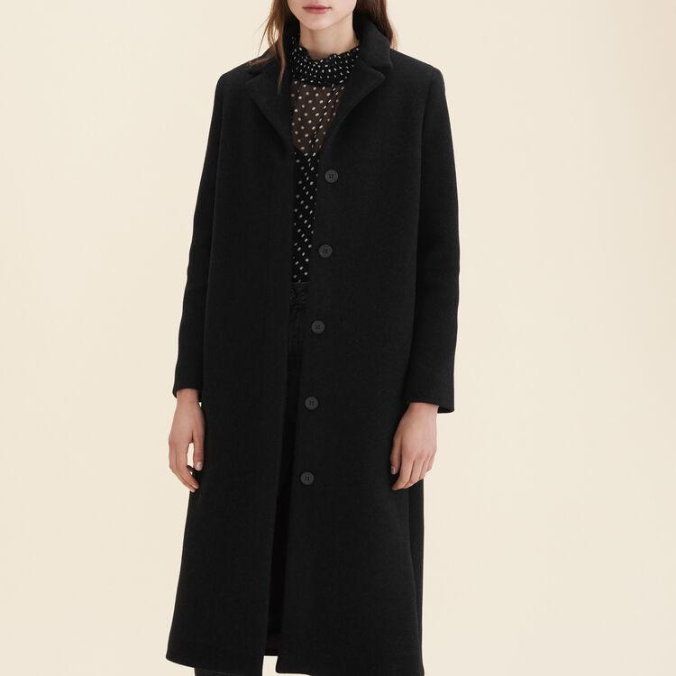 Manteau long en laine mélangée : Manteaux couleur Anthracite