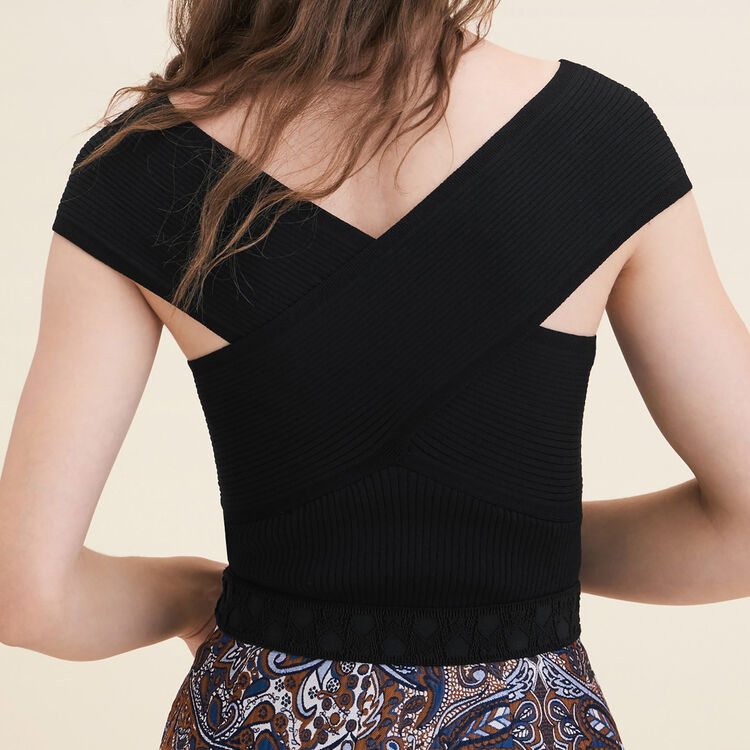 Top sans manches en maille côtelée : Pulls & Cardigans couleur Black