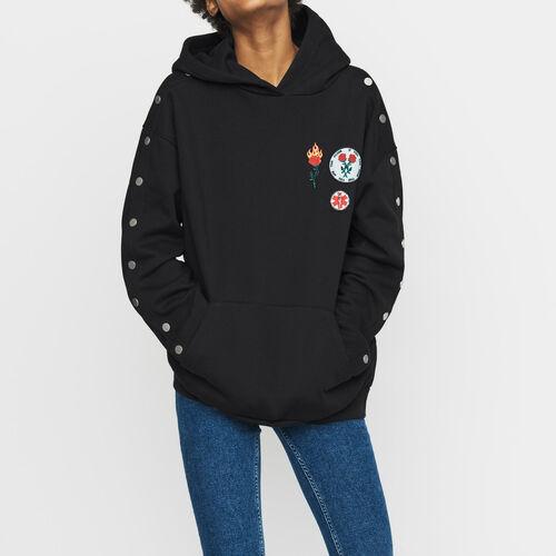 Sweat-shirt à capuche avec pressions : Sweats couleur Black