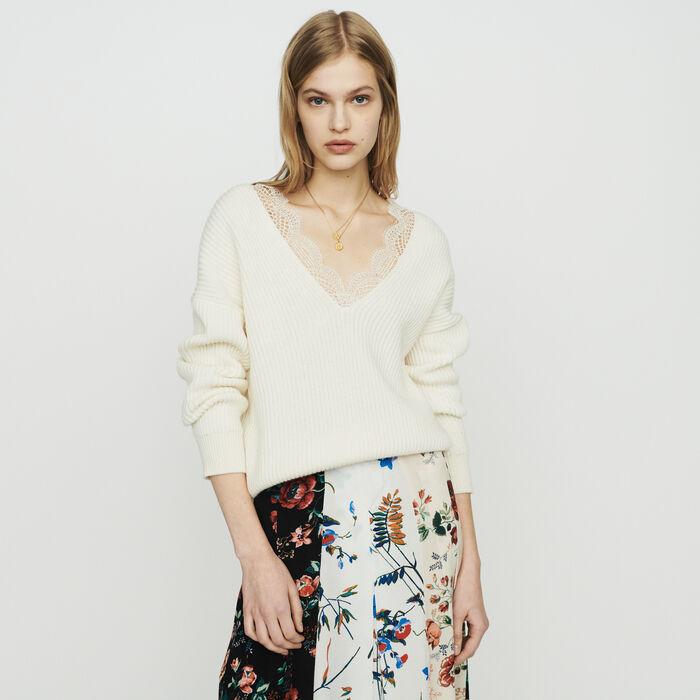 Pull loose avec dentelle : Pulls & Cardigans couleur ECRU