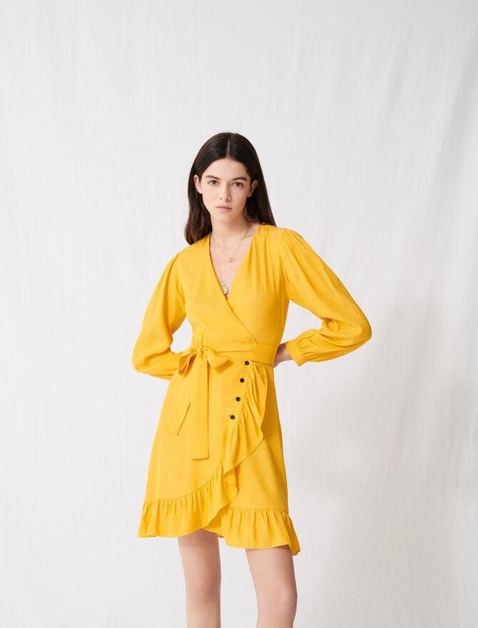 Robe portefeuille jaune soleil à nouer - Robes - MAJE