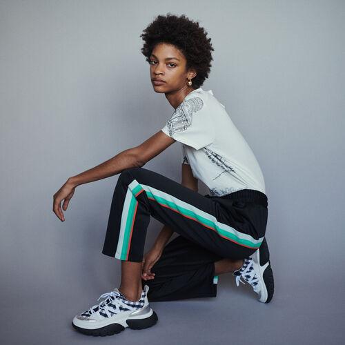 Pantalon de sport à bandes côté : Pantalons couleur BLACK