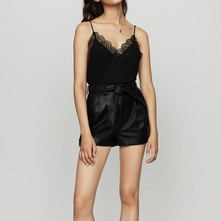 Short large en cuir : Jupes & Shorts couleur Black