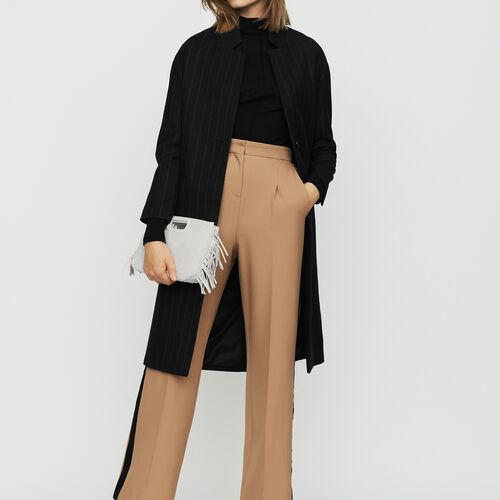 Manteau droit à fines rayures : Manteaux couleur Rayure