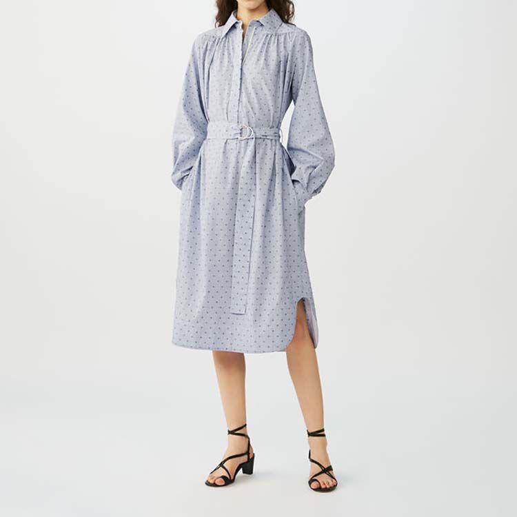 Robe-chemise à rayures brodées : Robes couleur Bleu