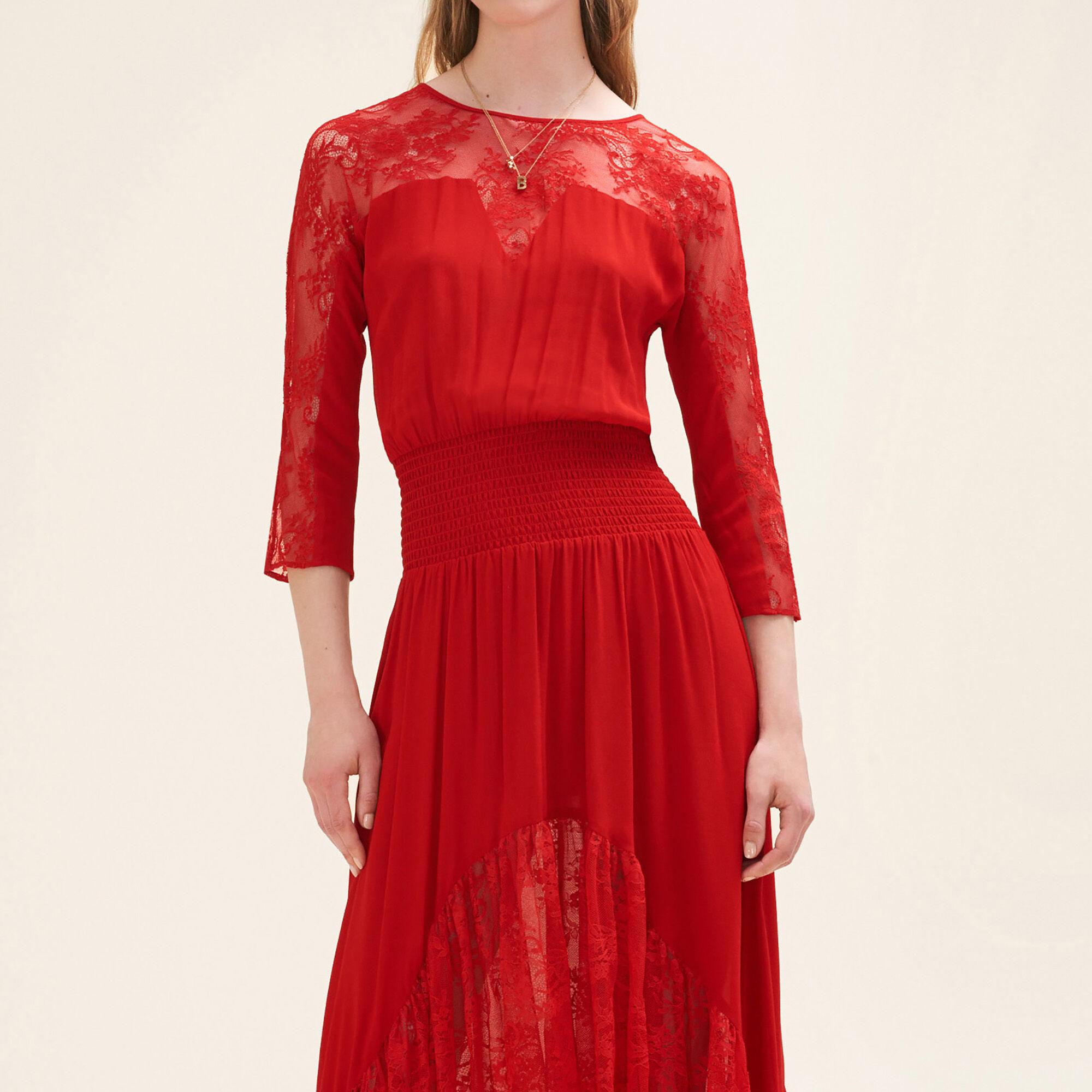 Robe dentelle rouge maje