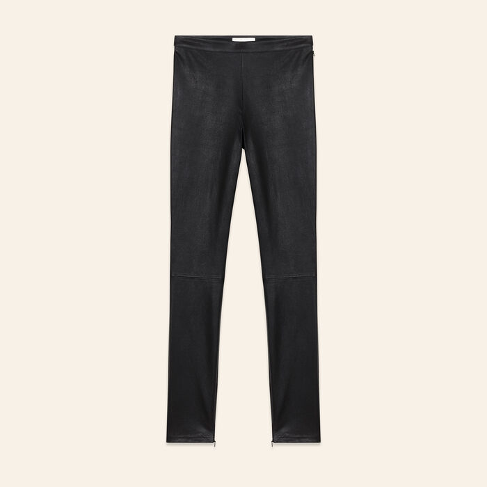 Legging en cuir stretch : Pantalons couleur Black