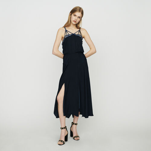 Robe midi avec strass : Robes couleur Marine