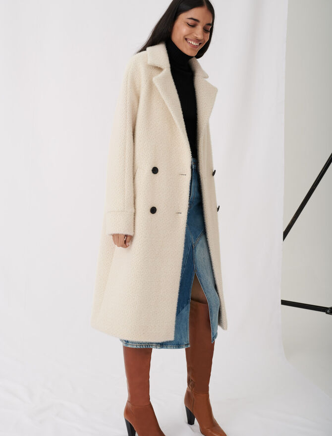 Manteau en tricotine à double boutonnage - Manteaux & Blousons - MAJE