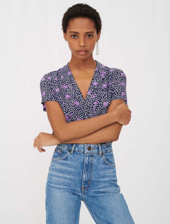 Chemise en crêpe imprimé à nouer - Tops & Chemises - MAJE