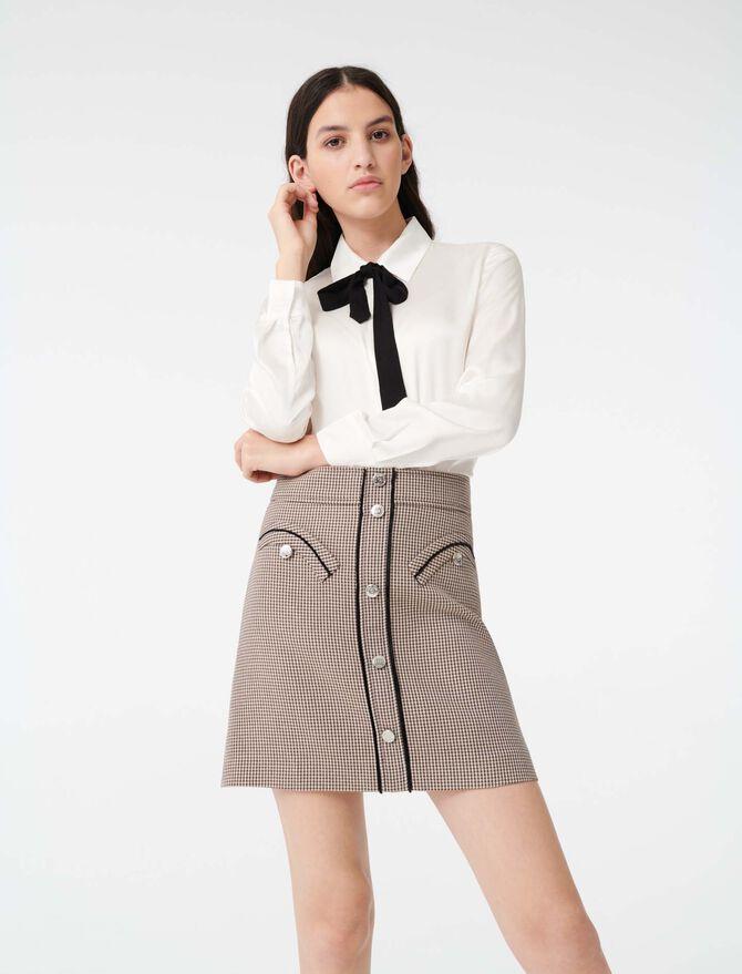 Chemise en satin avec cravate contrastée - Tops & Chemises - MAJE