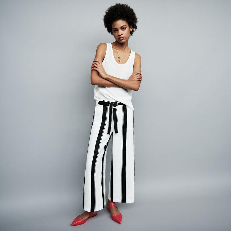 Pantalon taille haute : Pantalons couleur Rayure