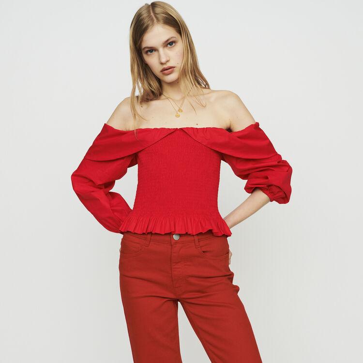 Top smocké à épaules dénudées : Tops couleur Rouge