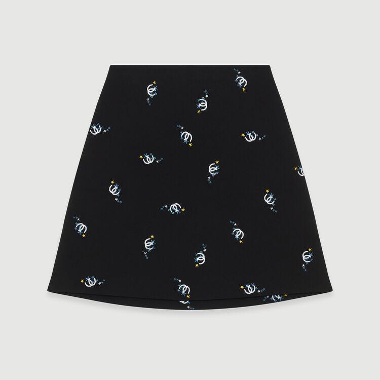 Jupe trapèze avec broderies fantaisie : Jupes & Shorts couleur Black
