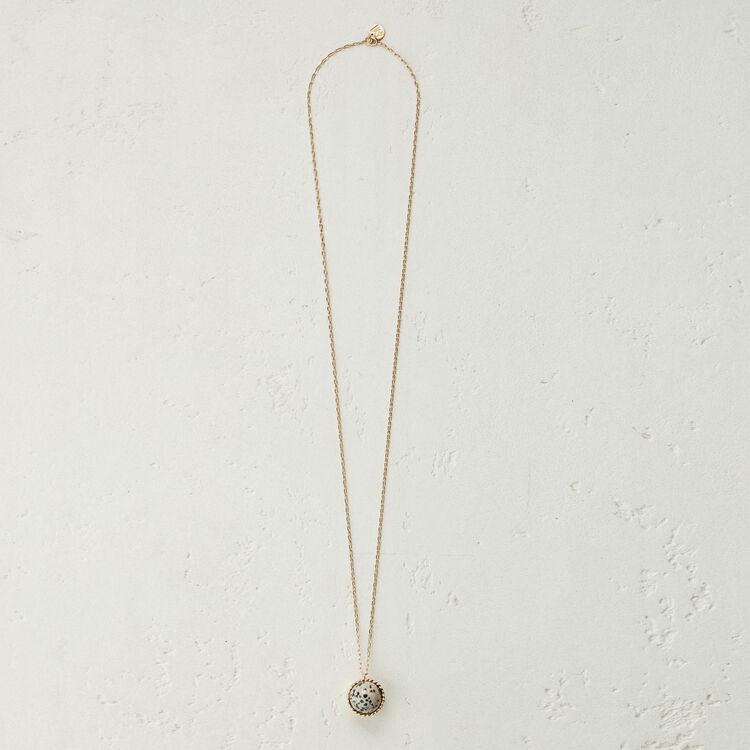 Collier long avec pendentif en pierre : Nouvelle Collection couleur Blanc Casse