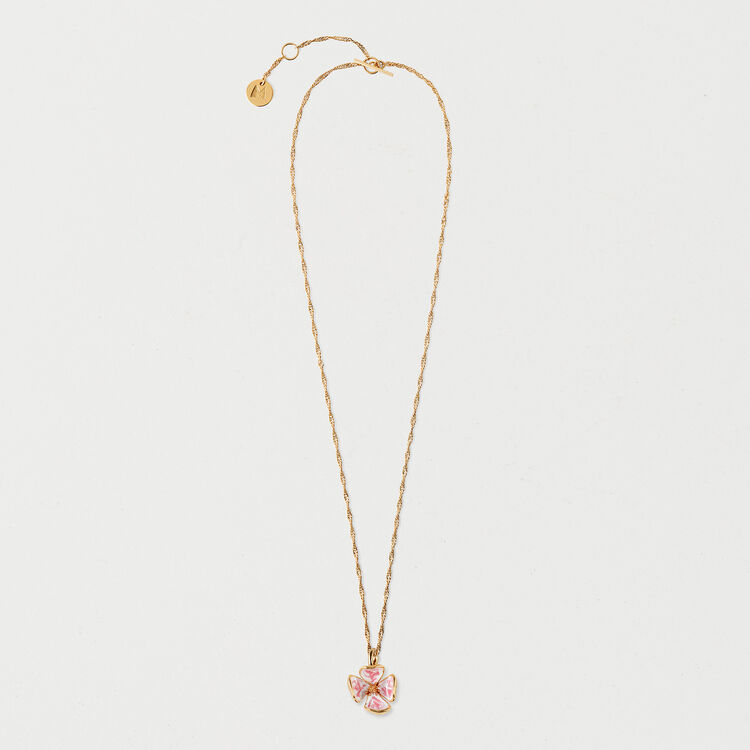 Collier fleur rose : Collection été couleur OR