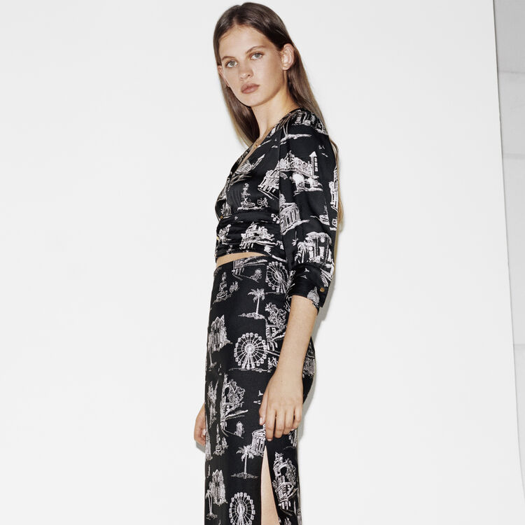 Top court à imprimé Paris : Tops & Chemises couleur Black