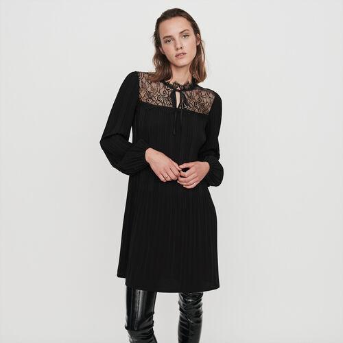 Robe plissée et dentelle : Robes couleur Noir