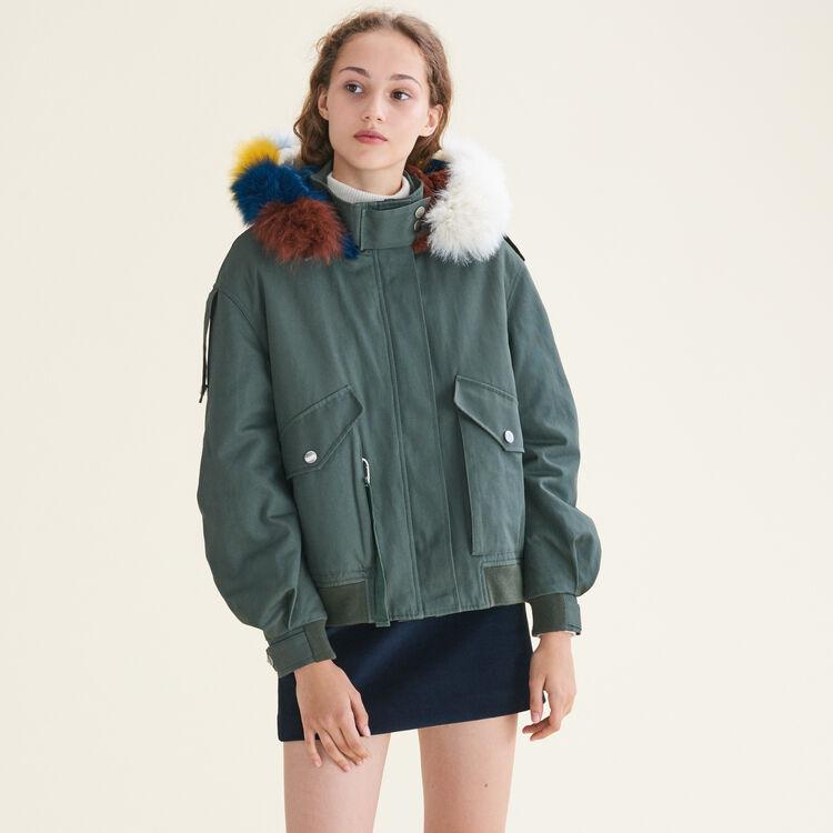 Blouson avec fourrure multicolore : Manteaux couleur Kaki