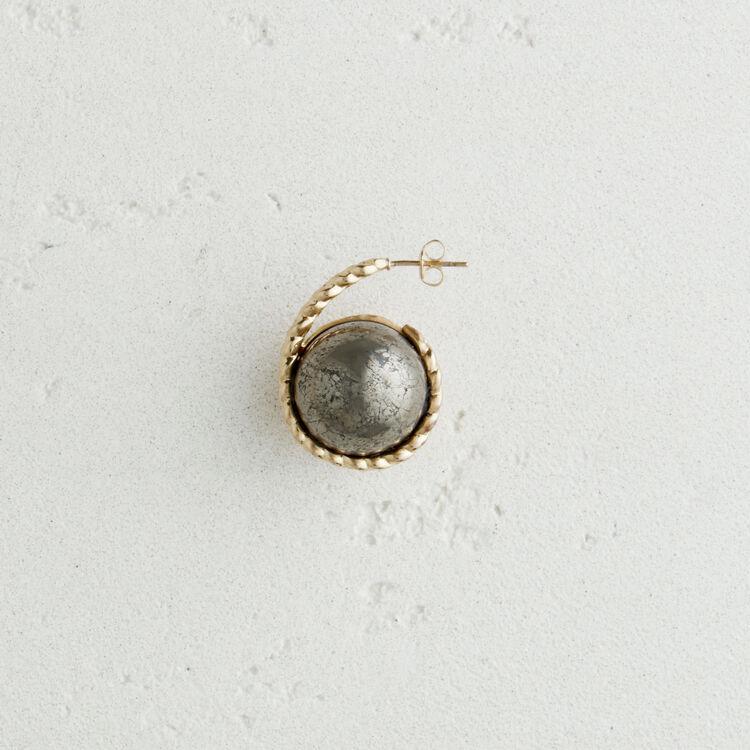 Boucle d'oreille gauche en pierre : Nouvelle Collection couleur Blanc Casse