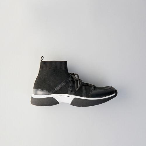 Sneakers W21 montantes en maille stretch : Sneakers couleur Noir