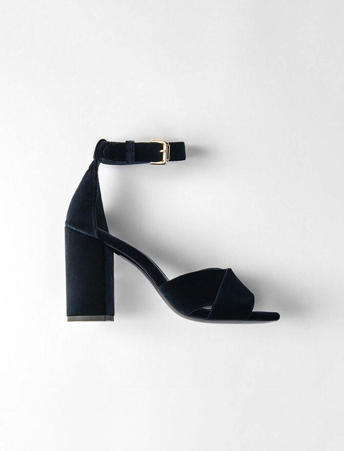 Sandales à talon et bride en velours -  - MAJE
