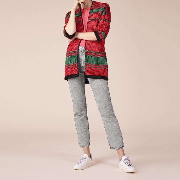 Cardigan bicolore en maille point de riz - Pulls & Cardigans - MAJE