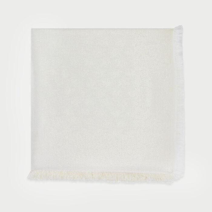 Châle avec motif M en lurex : Châles & Ponchos couleur BLANC CASSE