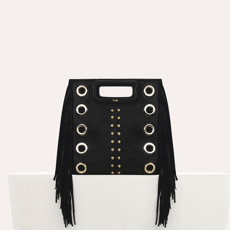 Sac M en cuir avec studs et œillets : Nouvelle Collection couleur Black