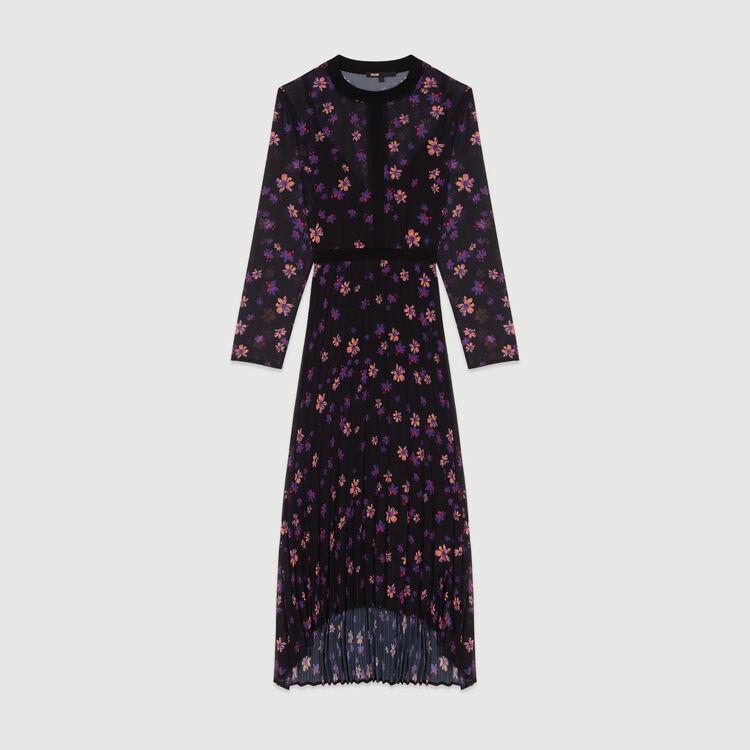Robe longue plissée imprimée : Robes couleur IMPRIME