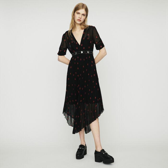 Robe plissée avec broderies cœur : Robes couleur Black