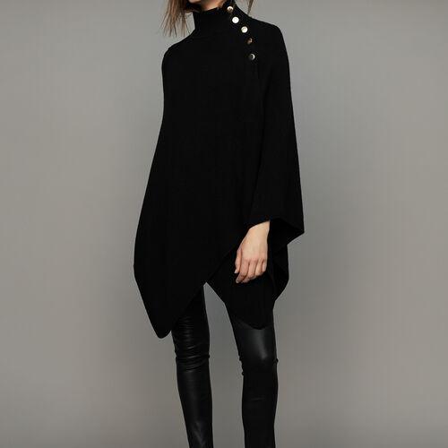 Poncho à col cheminée en laine mélangée : Maille couleur Black