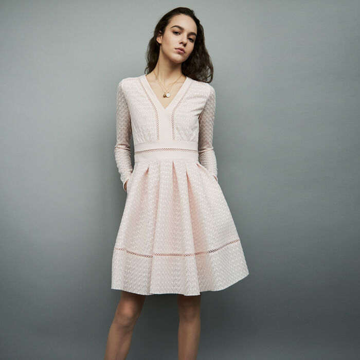 Robe patineuse en dentelle : Robes couleur NUDE