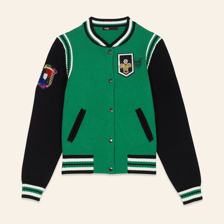 Bomber en maille bicolore : Pulls & Cardigans couleur VERT
