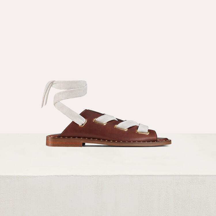 Sandales plates en cuir à nouer : Chaussures plates couleur Black