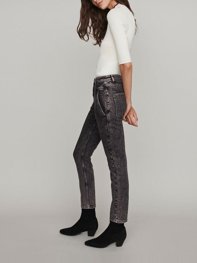 Jean délavé taille haute - Pantalons & Jeans - MAJE