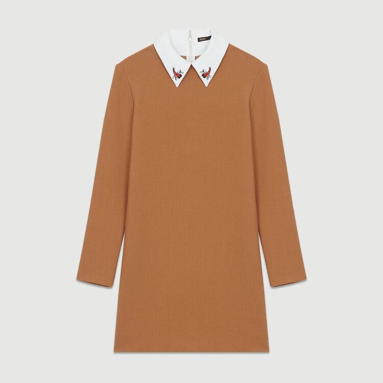Robe droite avec col fantaisie : Robes couleur Camel