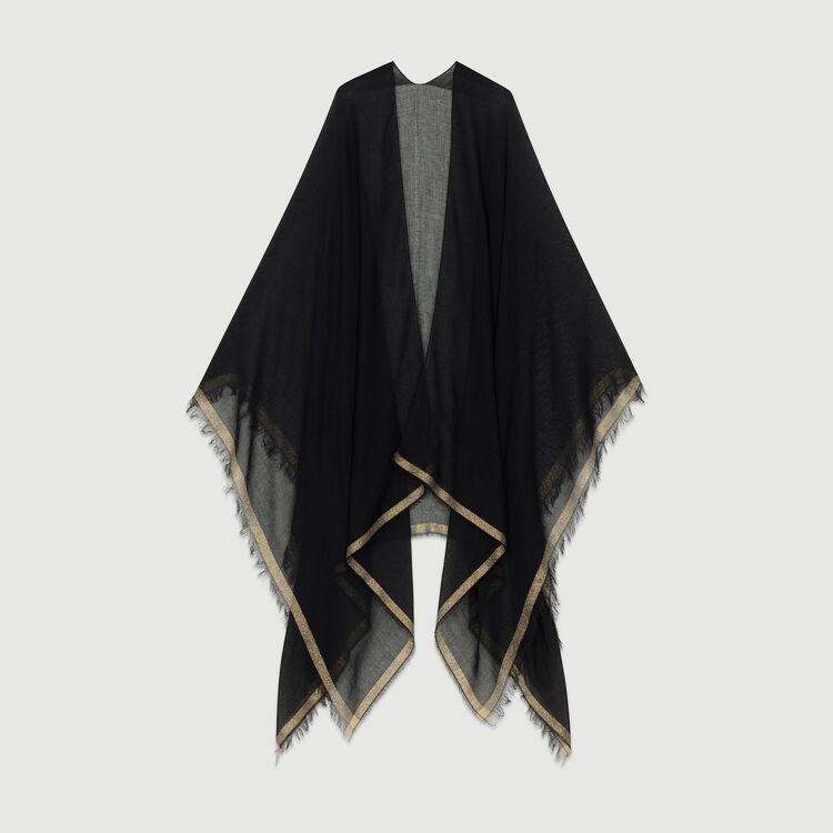 Poncho avec bandes en Lurex : Echarpes & Foulards couleur Black