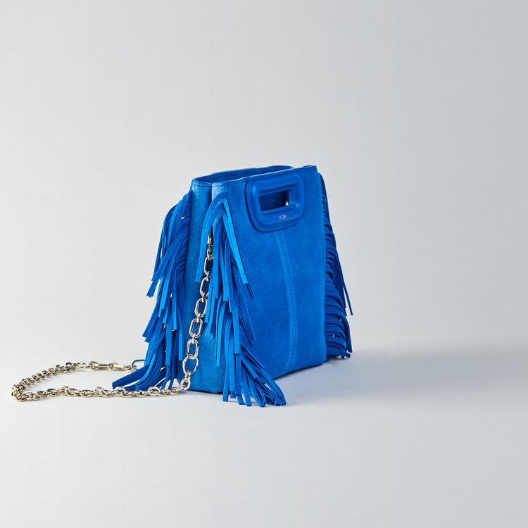 Sac M Mini en suède bicolore avec chaîne : M Mini couleur BLEU