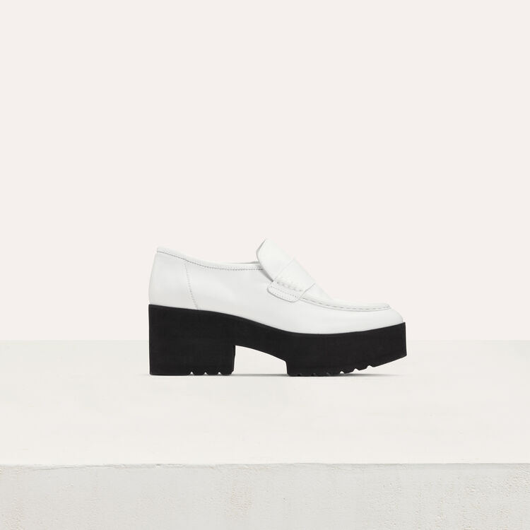 Mocassins plateforme en cuir : Chaussures plates couleur Blanc