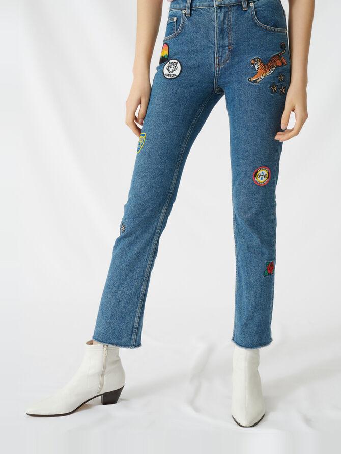 Jean droit à patchs brodés - Pantalons & Jeans - MAJE
