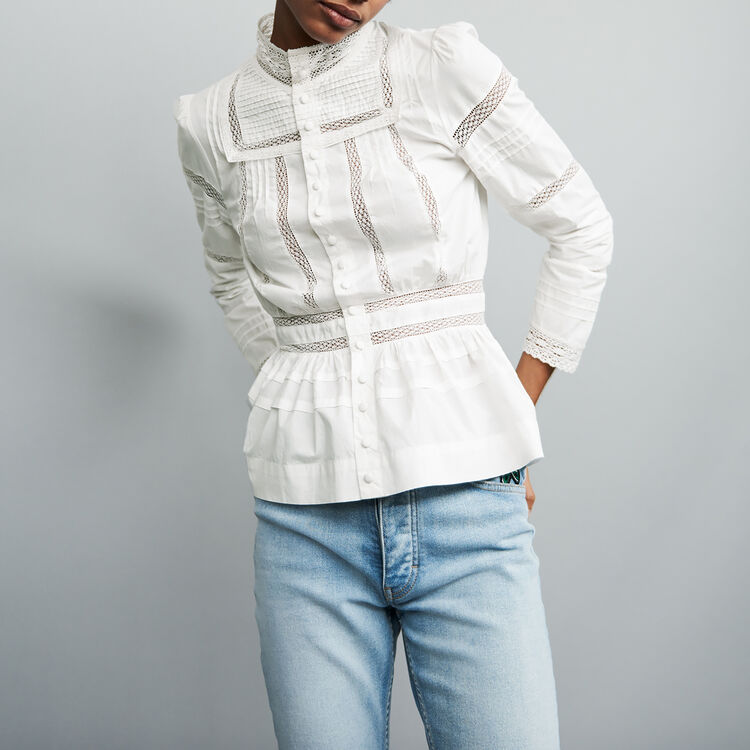 Chemisier en popeline avec broderies : Chemises couleur Blanc