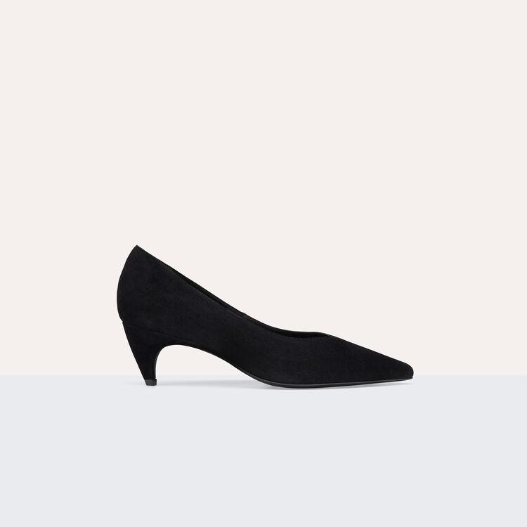 Escarpins en cuir de suède avec découpe : Chaussures couleur Black